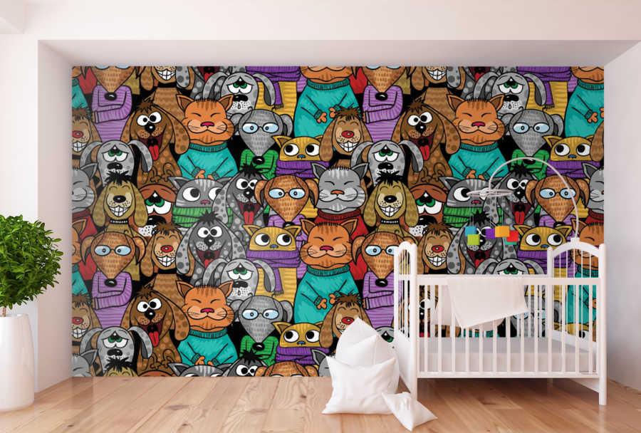 Cats and dogs in the concert or cinema kids room wall mural