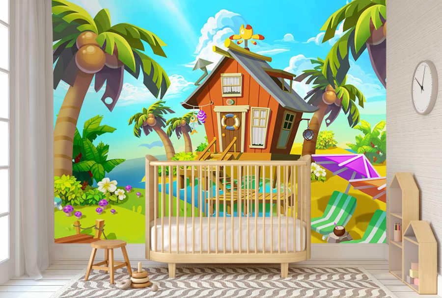 Beach hut island sea deckchair kids room wall mural