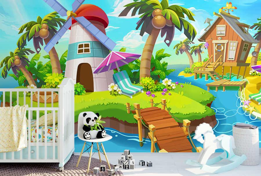 Beach kennel island sea wind mill kids room wall mural