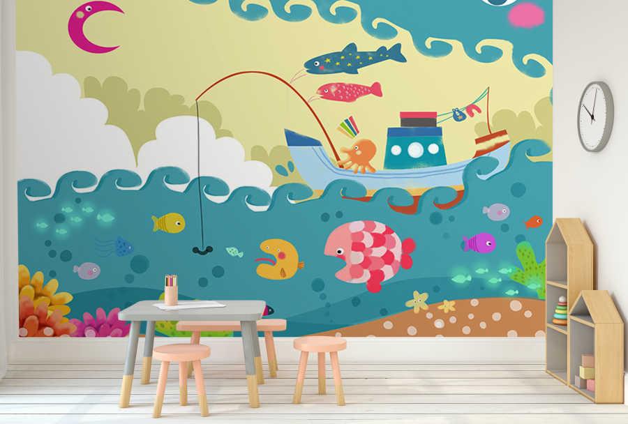 Balıkçı teknesi olta deniz balıklar çocuk odası duvar kağıdı