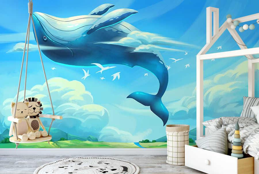 Beyaz martılar ile uçan balina çocuk odası duvar kağıdı