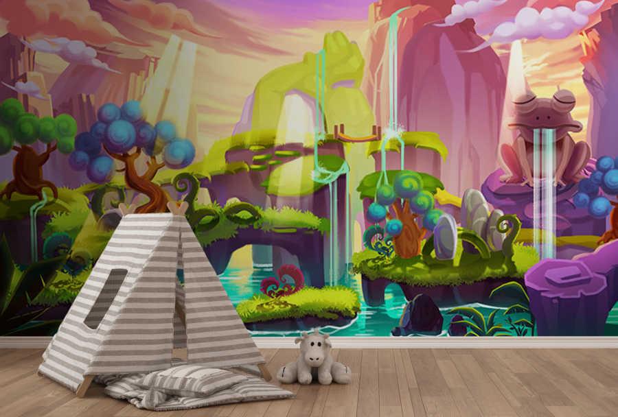 Büyülü orman ve kurbağa şelaleleri çocuk odası duvar kağıdı