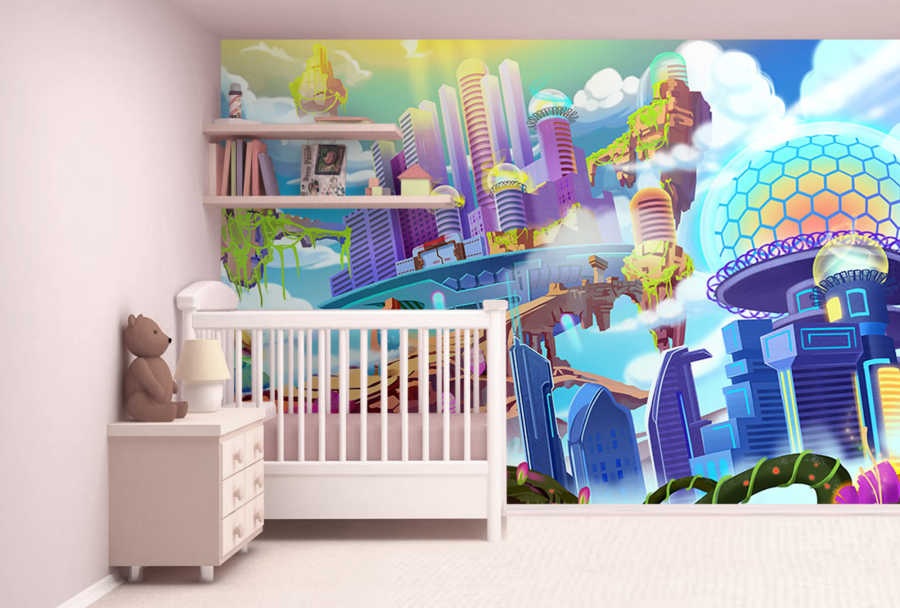 Colorful space city science fiction kids room wall mural