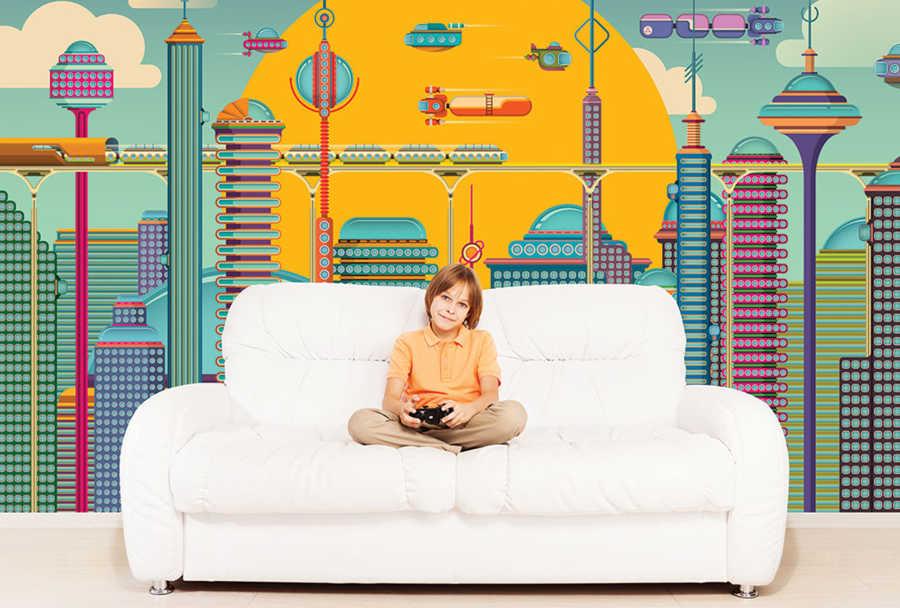 Gelecek zaman şehir ve trafik çizim çocuk odası duvar kağıdı