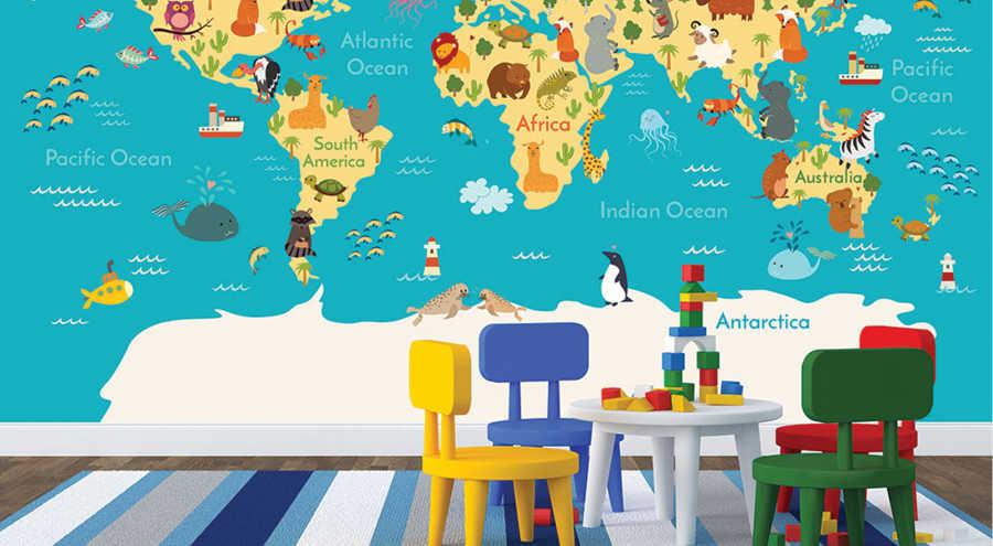 Dünya kara deniz okyanus canlıları çocuk odası duvar kağıdı