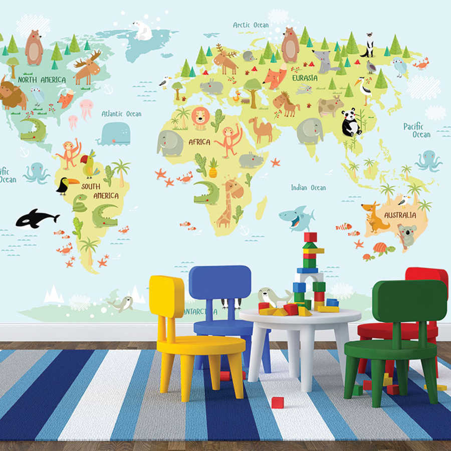 Atlas of cute animals in world map kids room wall mural