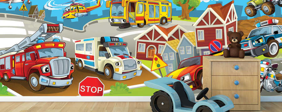 Fire truck bus ambulance police children's room wall mural