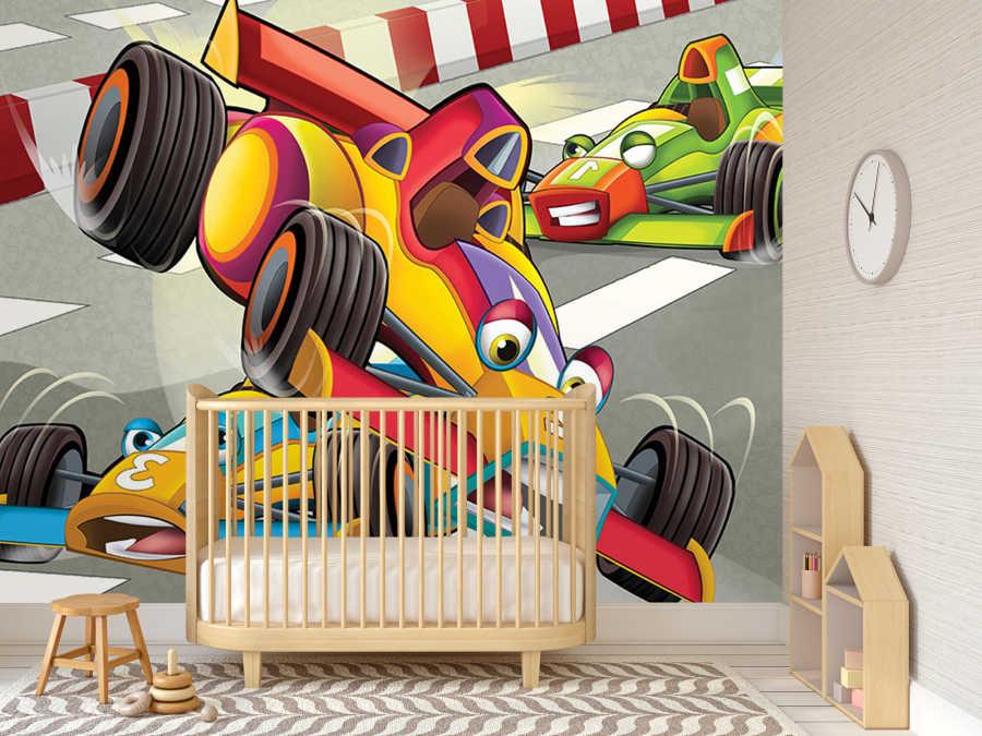 Car crash moment at Formula racing kids room wall mural