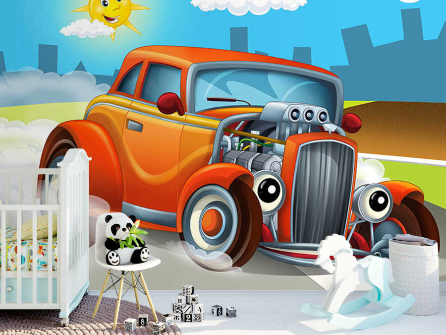 32 ford red hot rod race car kids room wall mural