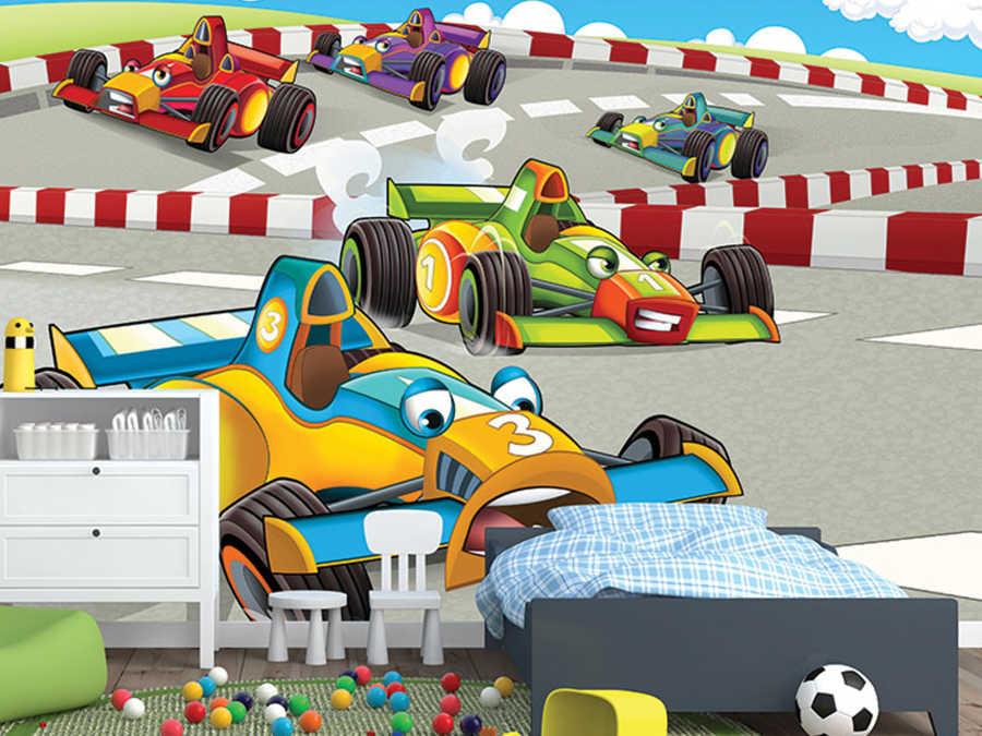 Formüla yarış arabaları pistte çocuk odası duvar kağıdı