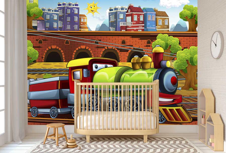 Demiryolunda giden tren ve vagon çocuk odası duvar kağıdı