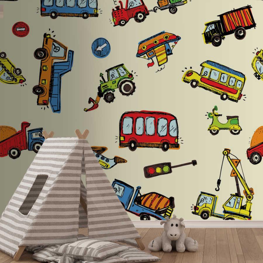 Airplane bus truck crane ship kids room wall mural