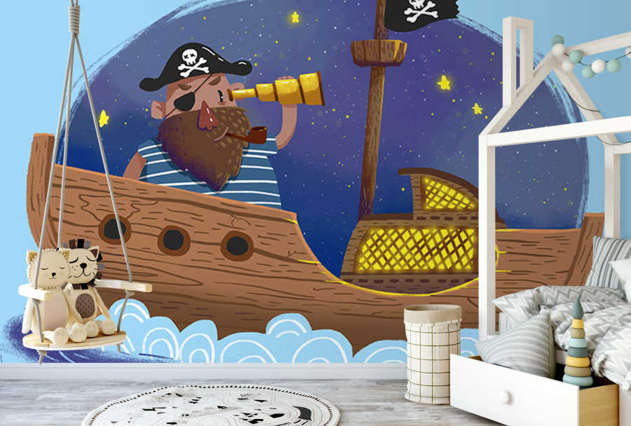 Captain on pirate ship with binoculars kids room wall mural