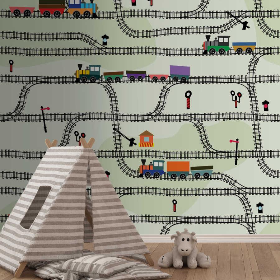 Demir yolunda giden tren vagon ray çocuk odası duvar kağıdı