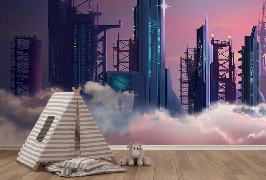 Bilim kurgu uzay şehri ve gökdelenler çocuk duvar kağıdı