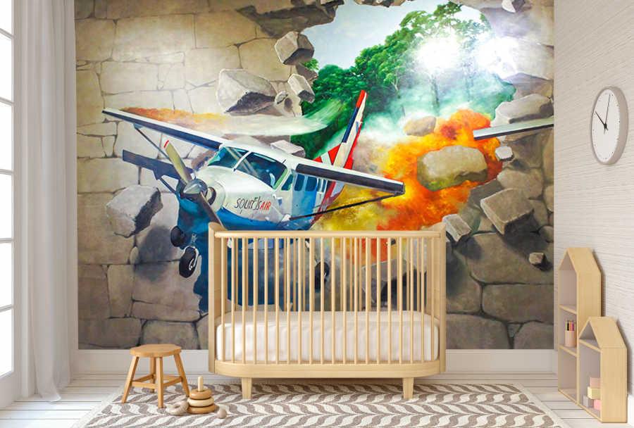 Duvarın içinden çıkan savaş uçağı çocuk odası duvar kağıdı