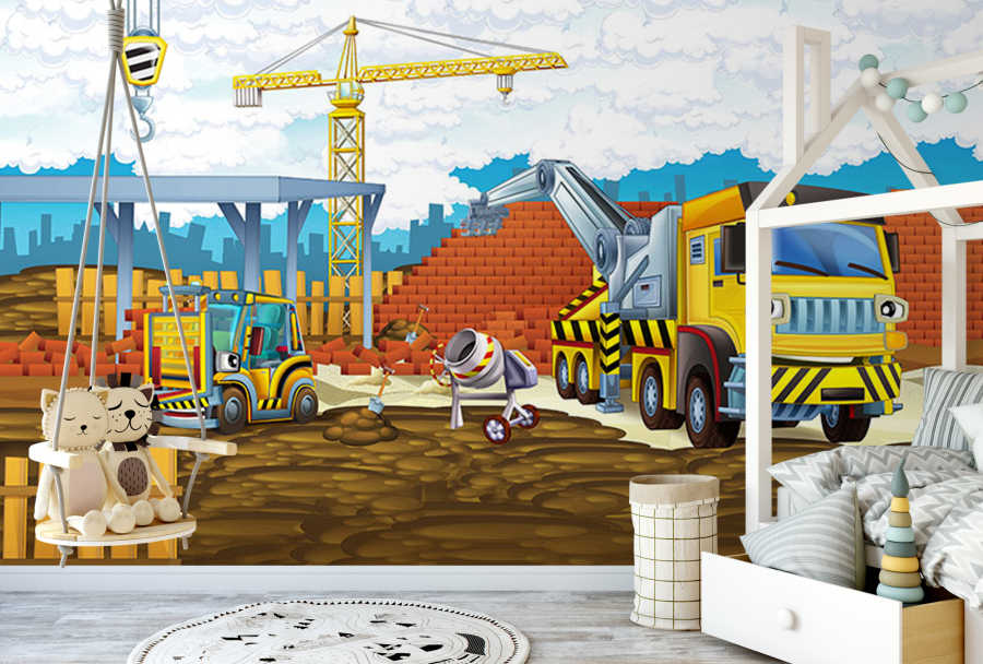 Construction theme tower crane truck kids wall mural