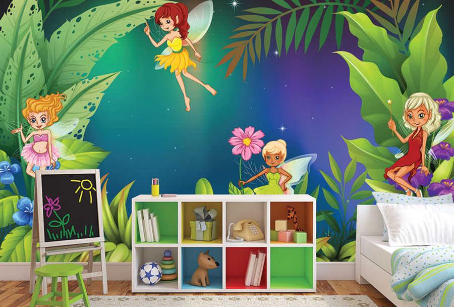 Geceleri sihir yapan uyku perileri çocuk odası duvar kağıdı