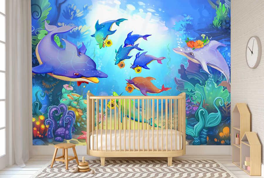 Deniz altında oyun oynayan yunuslar çocuk odası duvar kağıdı