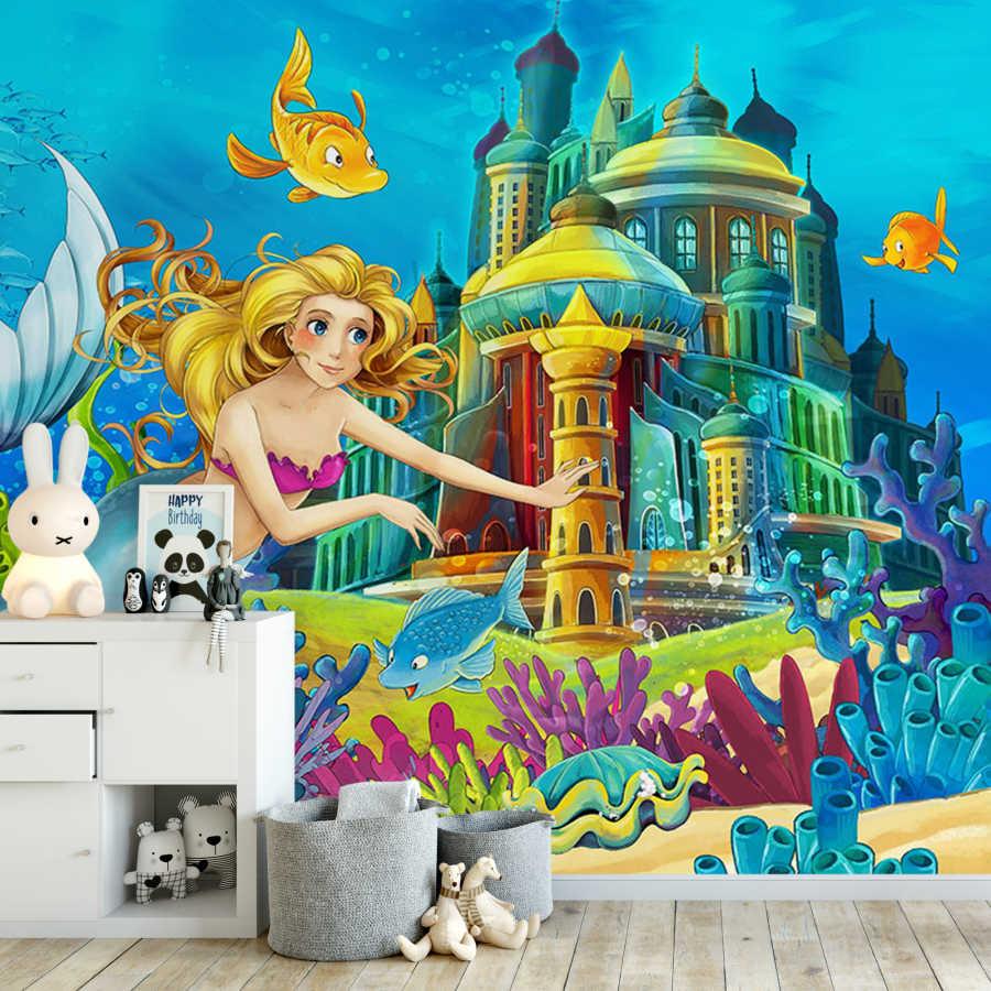 Balıklarla sarayına giden deniz kızı çocuk odası duvar kağıdı