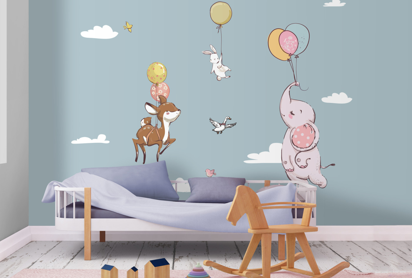 Elephant gazelle bunny flying to the clouds baby wall mural