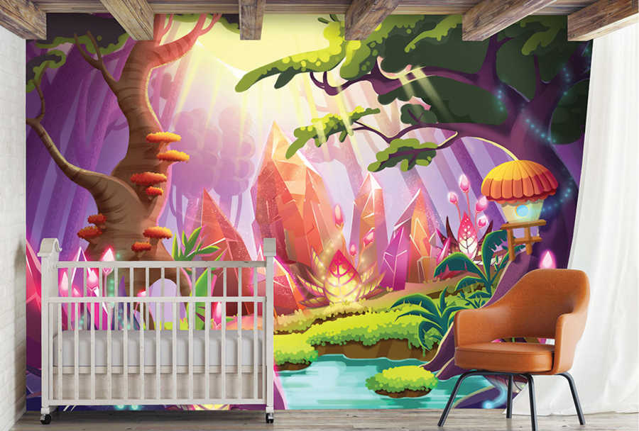 Crystal treasure forest in magic country kids room wall mural