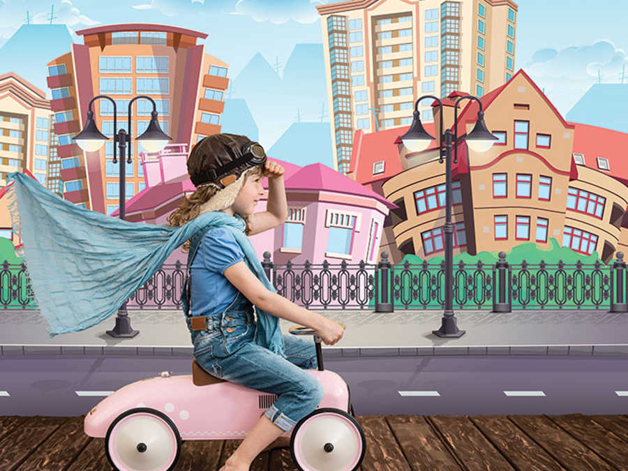 City street lamps and apartments kids room wall  mural