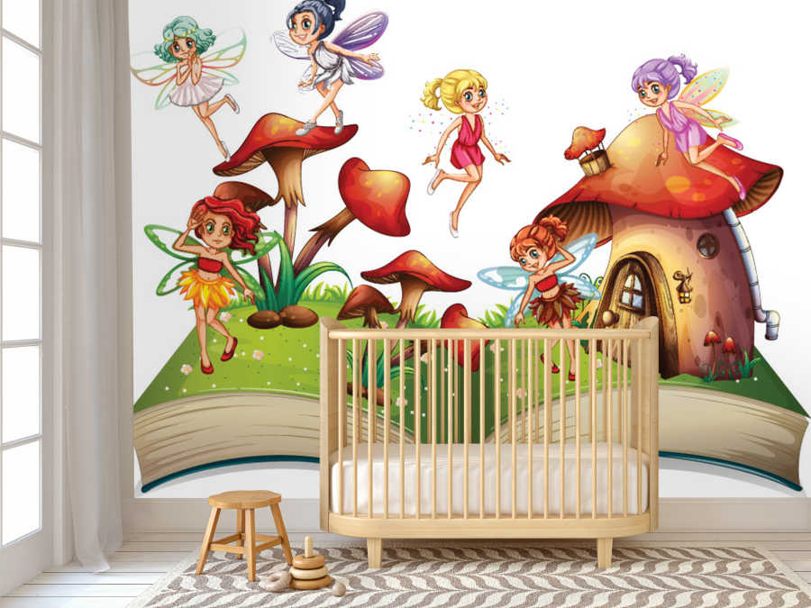 Fairy tale book fairies and forest kids room wall mural