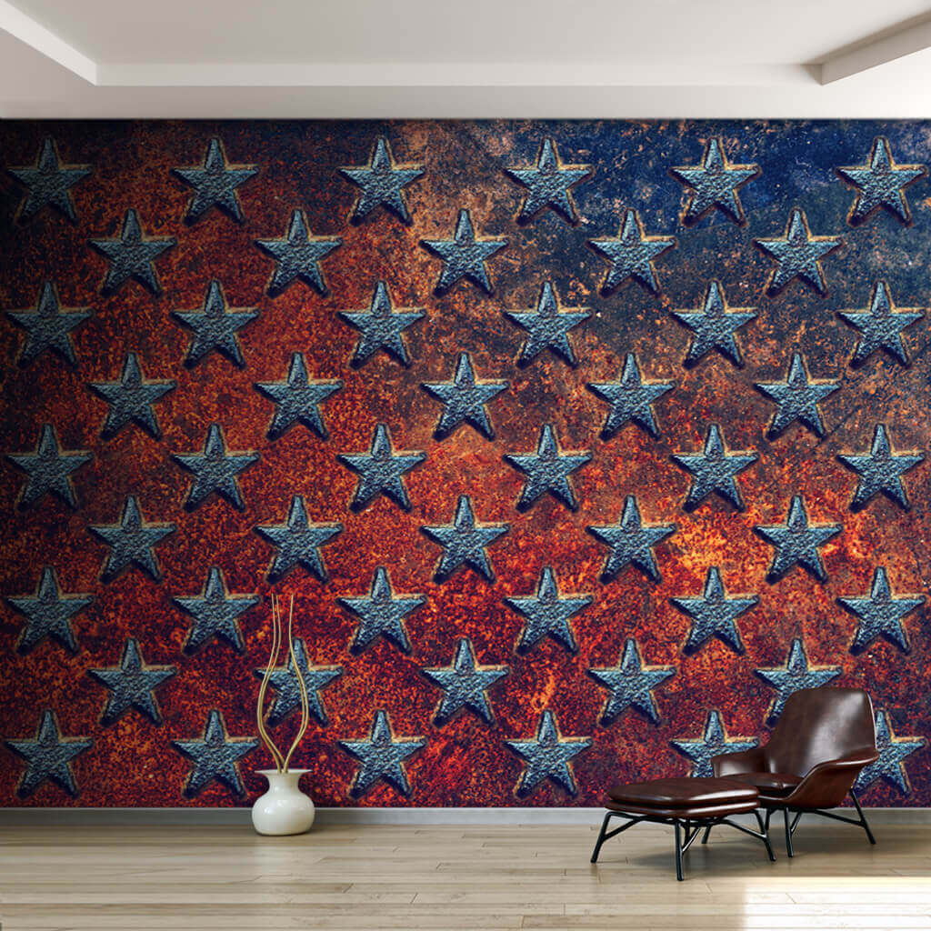 American Flag Cross Section On Metal Texture Wallpaper And Wall Mural