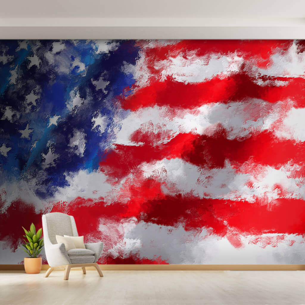 Watercolor America National Flag with grunge effect wallpaper and wall mural