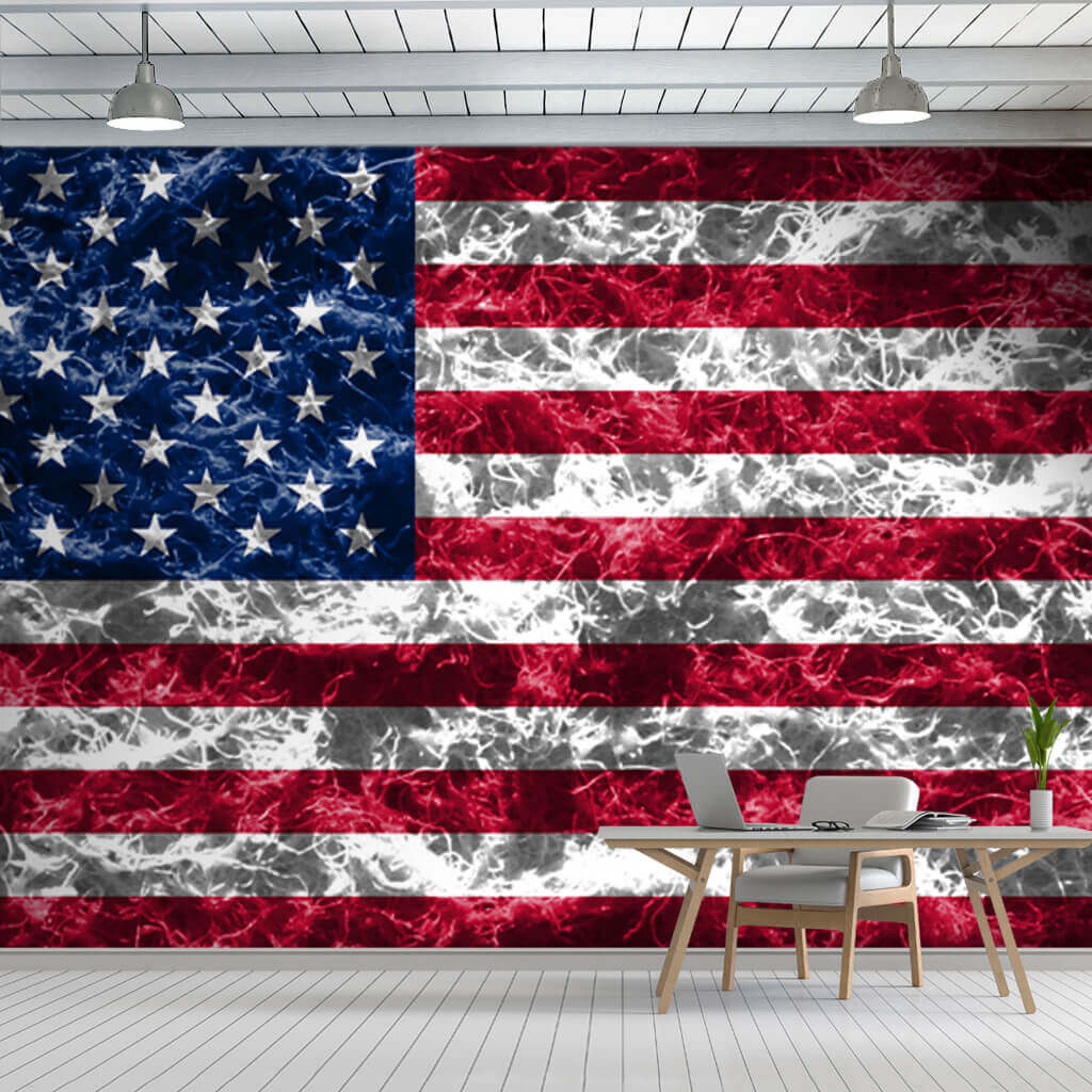 United States National Flag with smoke effect wallpaper and wall mural
