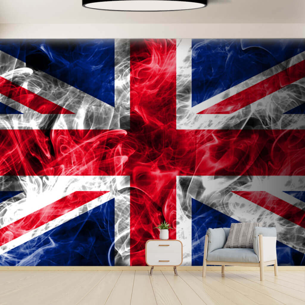 United Kingdom Flag wall mural, Union Jack wallpaper with smoke effect