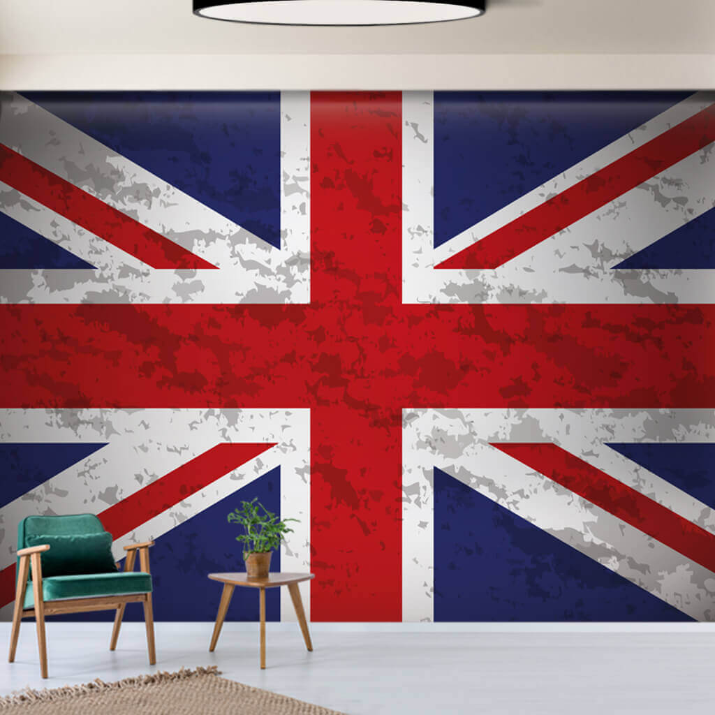 United Kingdom Flag wallpaper, Union Jack wall mural with aging effect