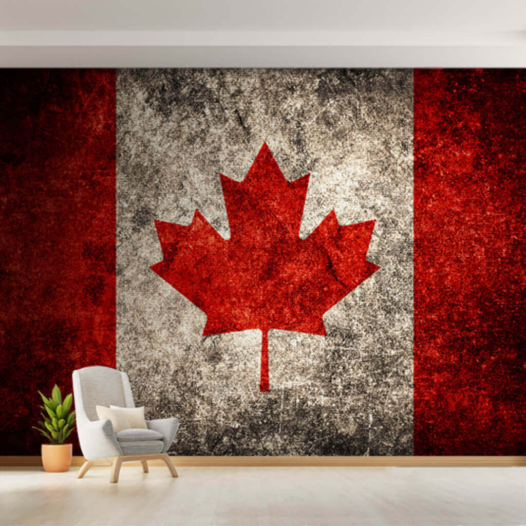 Red and white Canadian Flag wallpaper with aging effect wall mural