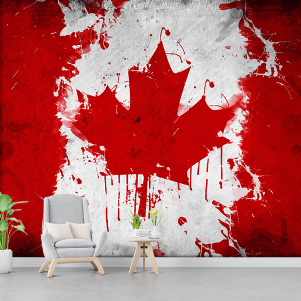 Red white watercolor grunge Canadian flag wallpaper and wall mural