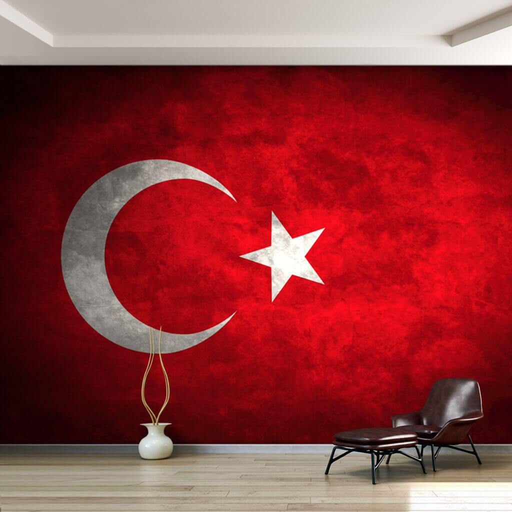 Red white moon star aging effect Turkish Flag wallpaper and wall mural
