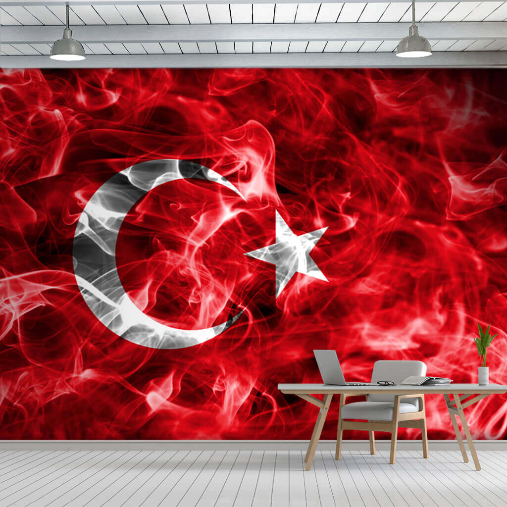 Turkish Flag wallpaper with moon and star, smoke effect wall mural
