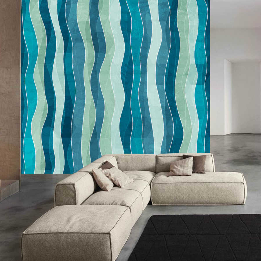 Blue white vertical wave patterns baby room wall mural