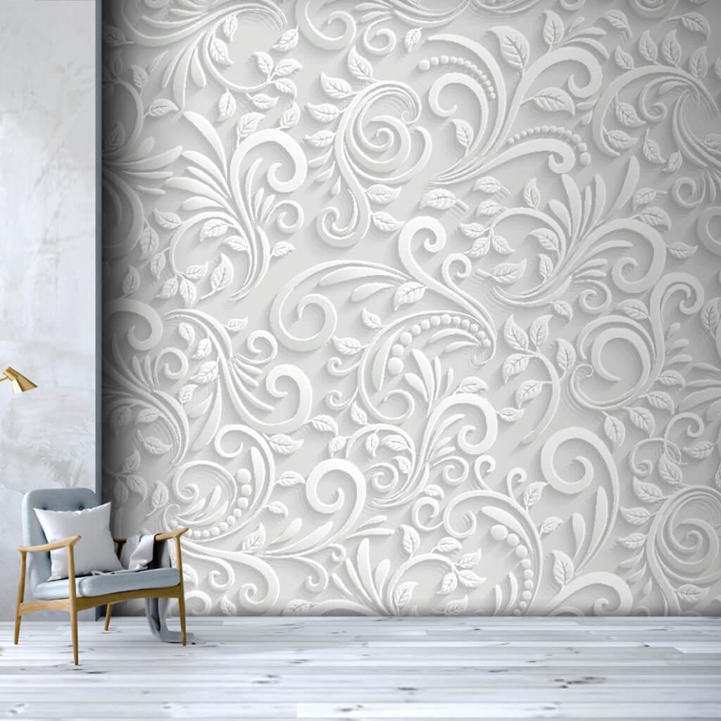 3 boyutlu vektörel beyaz kabartma çiçek desen duvar kağıdı