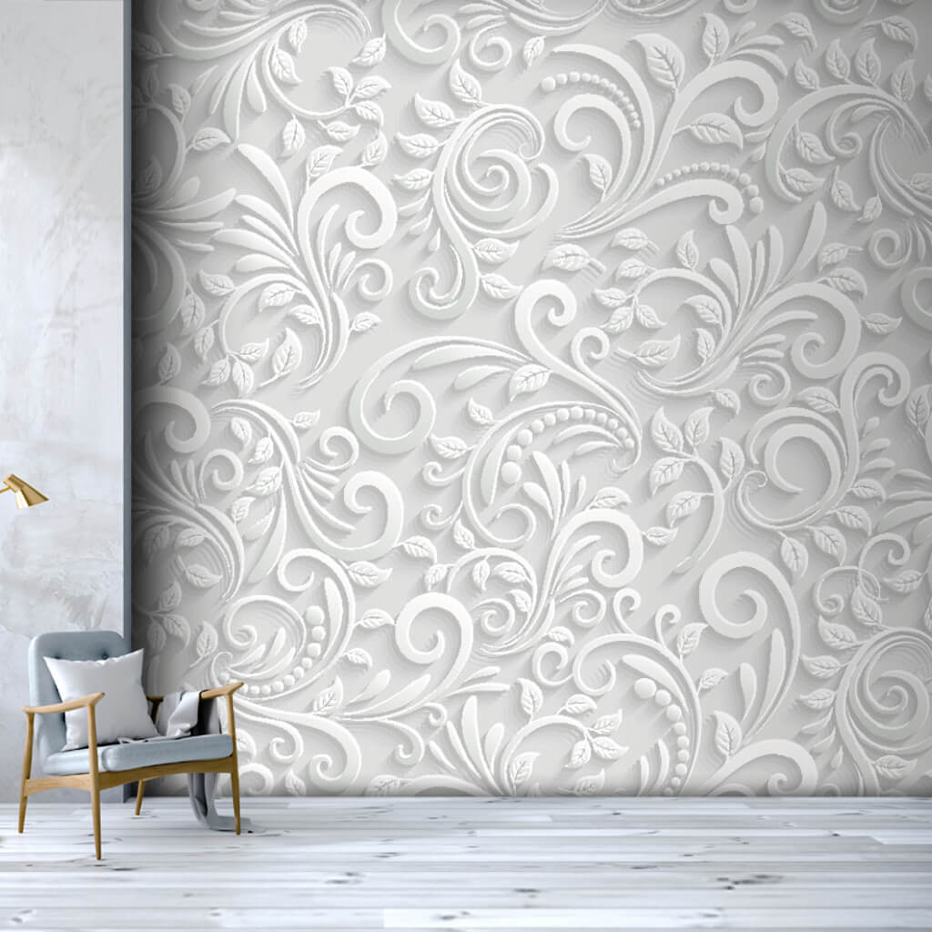 3D vector white embossed floral pattern custom wall mural