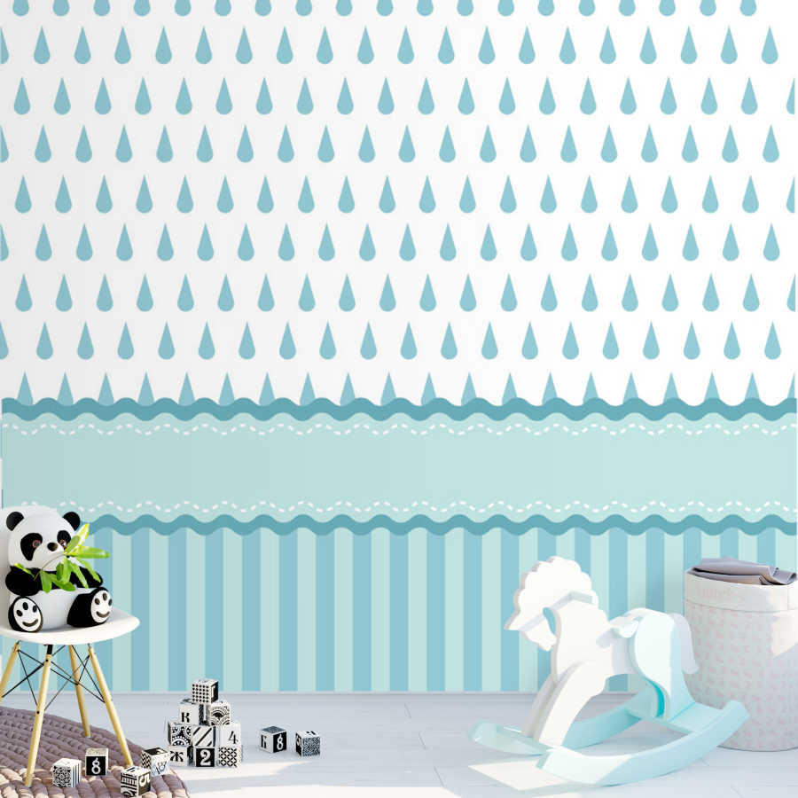 Baby boy room wall mural with blue drops and line patterns