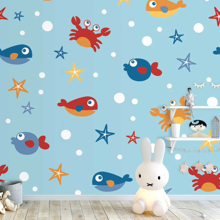 Baby room wall mural with crab fishes and starfish drawings