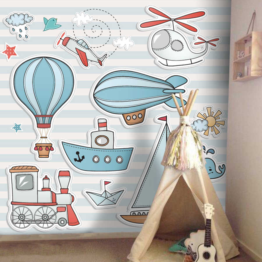 Cute drawings of Train ship airplane baby room wall mural