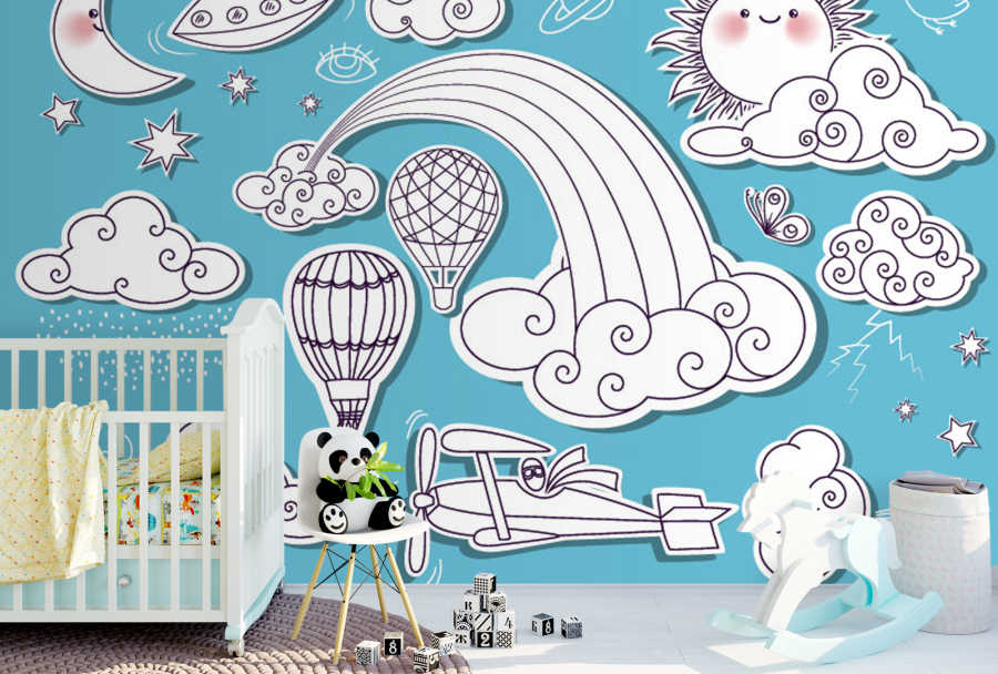 Aircrafts sun and planets in the sky baby room wall mural