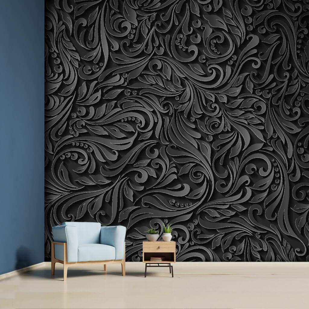 3 boyutlu vektörel siyah kabartma çiçek desen duvar kağıdı