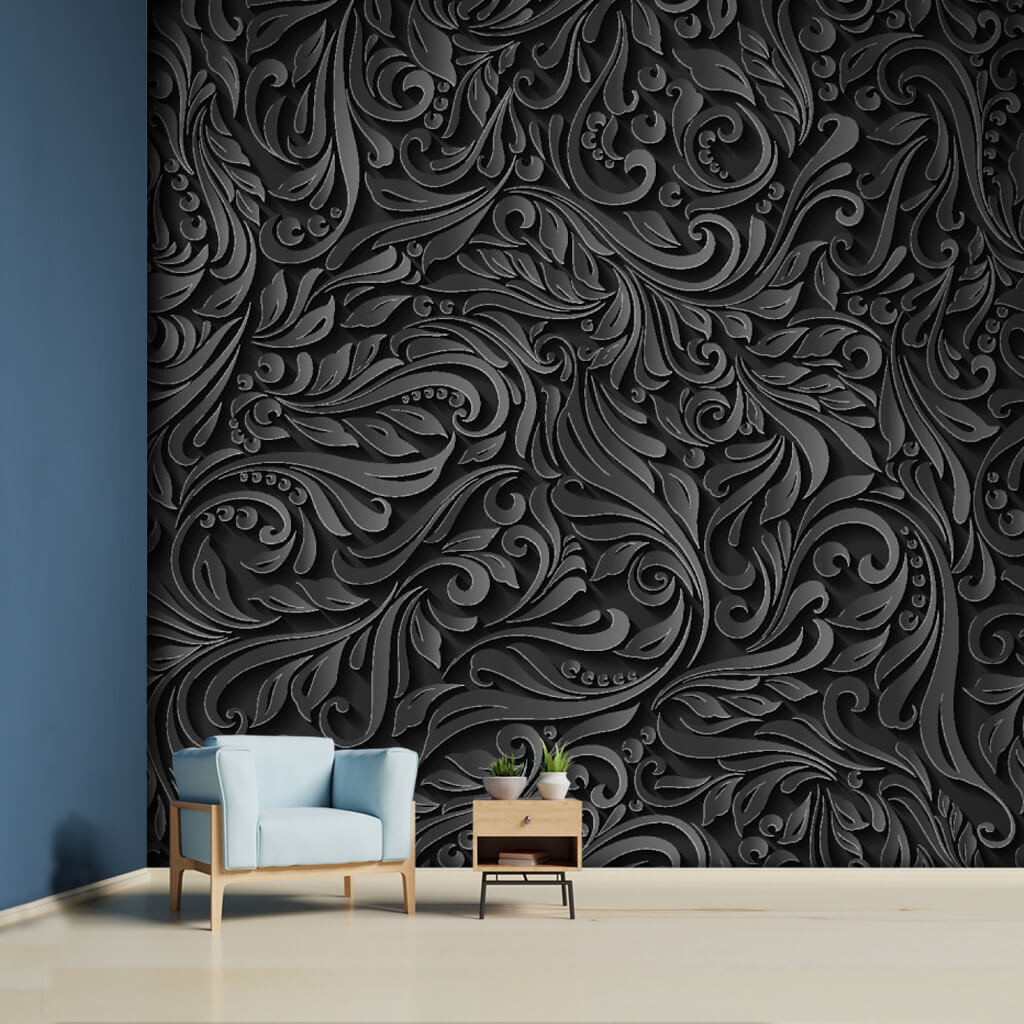 3D vector black embossed floral pattern custom wall mural