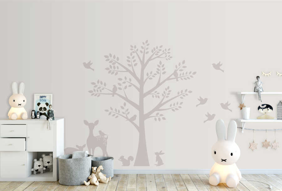 Baby room wall mural with gazelle bird and squirrel near tree