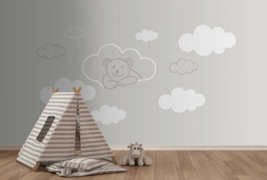 Baby boy room wall mural with smiley bear and white clouds