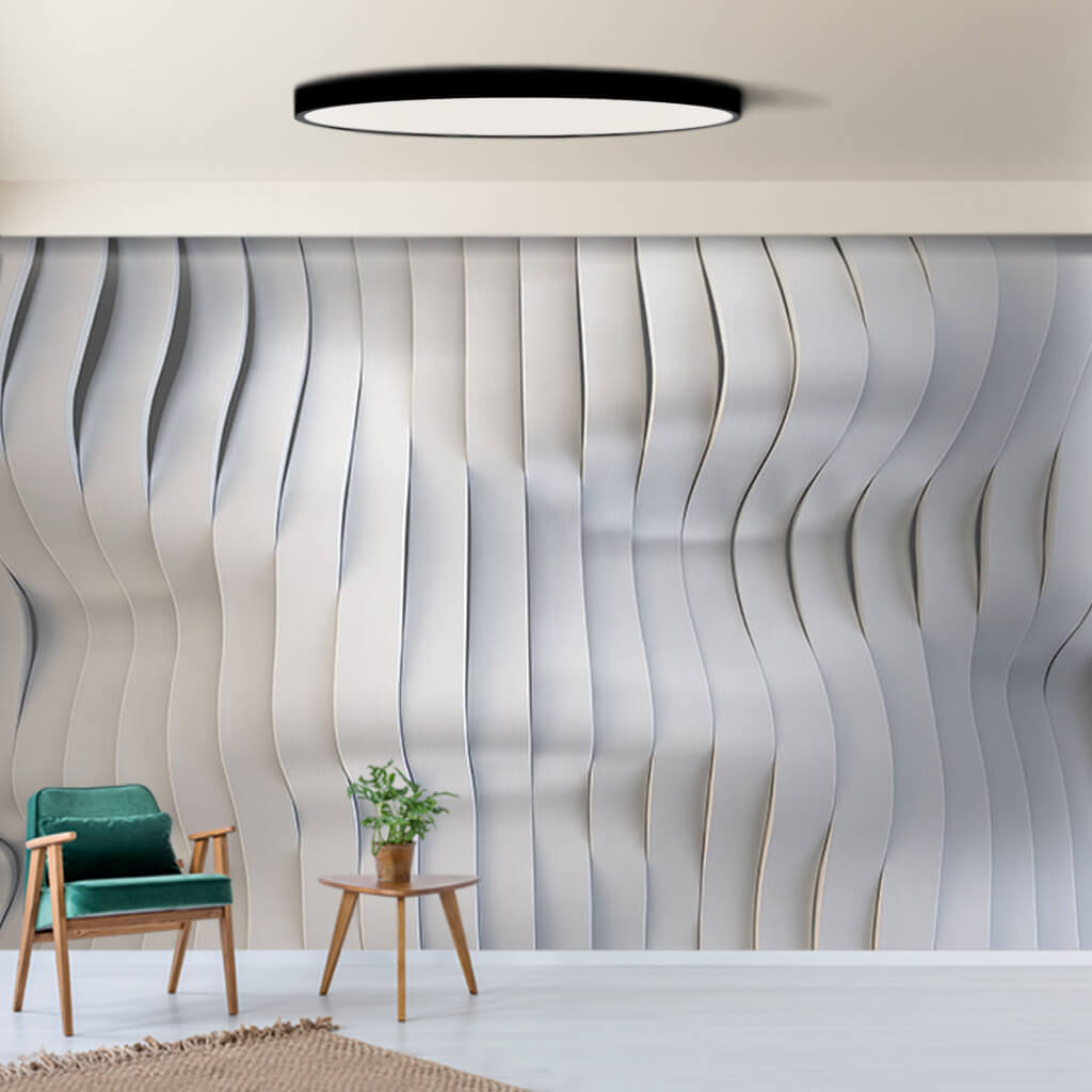 Gradient white bands wave 3D pattern custom wall mural