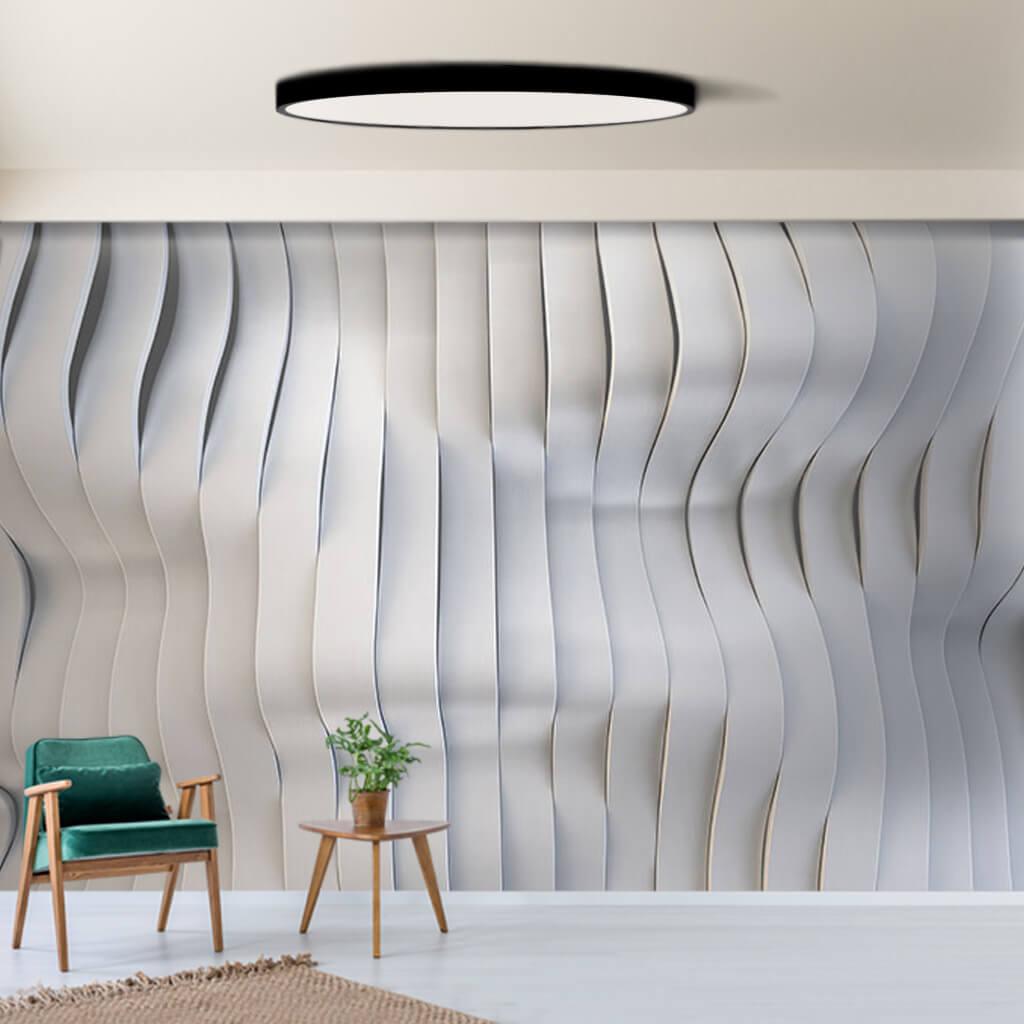 Gradyan beyaz bantlar dalga 3 boyutlu desen duvar kağıdı